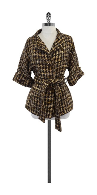 Item - Brown & Yellow Woven Boucle Coat Size 6 (S)