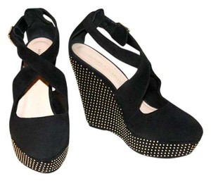 Loeffler Randall Criss-cross Studded Suede Gold Hardware Black Wedges