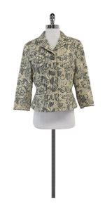 Elie Tahari Cream Grey Floral Print Jacket