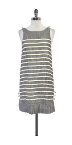 Calypso short dress Grey Cream Striped Silk Shift on Tradesy