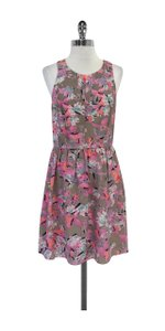 Rebecca Taylor short dress Grey Pink Print Silk Sleeveless on Tradesy
