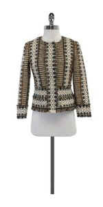 Tory Burch Brown Orange Woven Boucle Jacket
