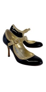 Luciano Padovan Mary Jane Black & Nude Pumps