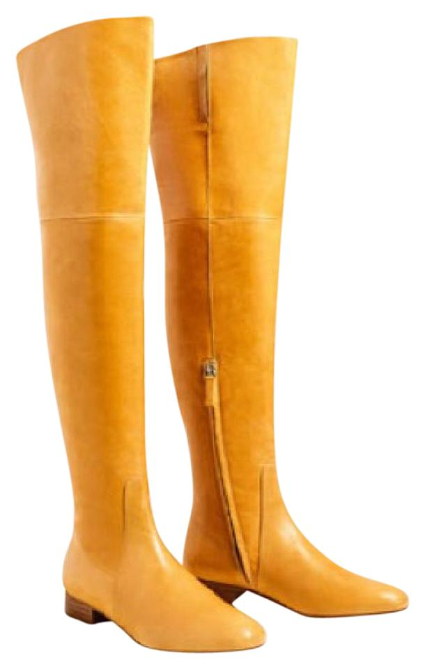 31d294f0f92 Zara Yellow Over The Knee Mustard Flat Leather Boots Booties Size US ...