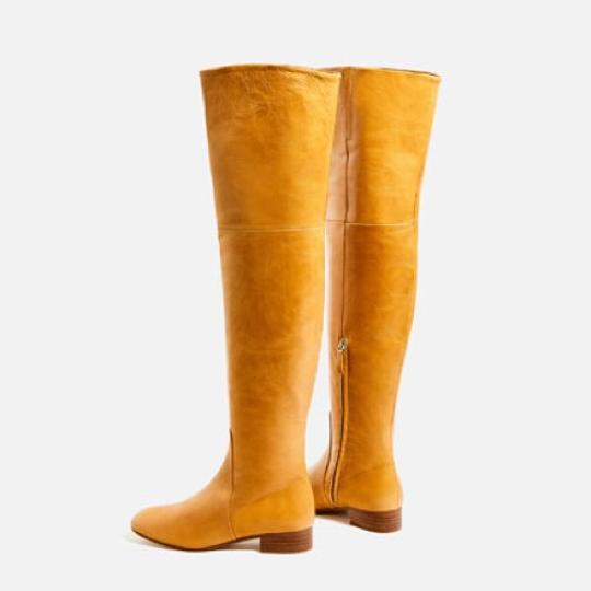 Zara Knee High Gold Round Toe Flat Ankle Yellow Boots Image 1