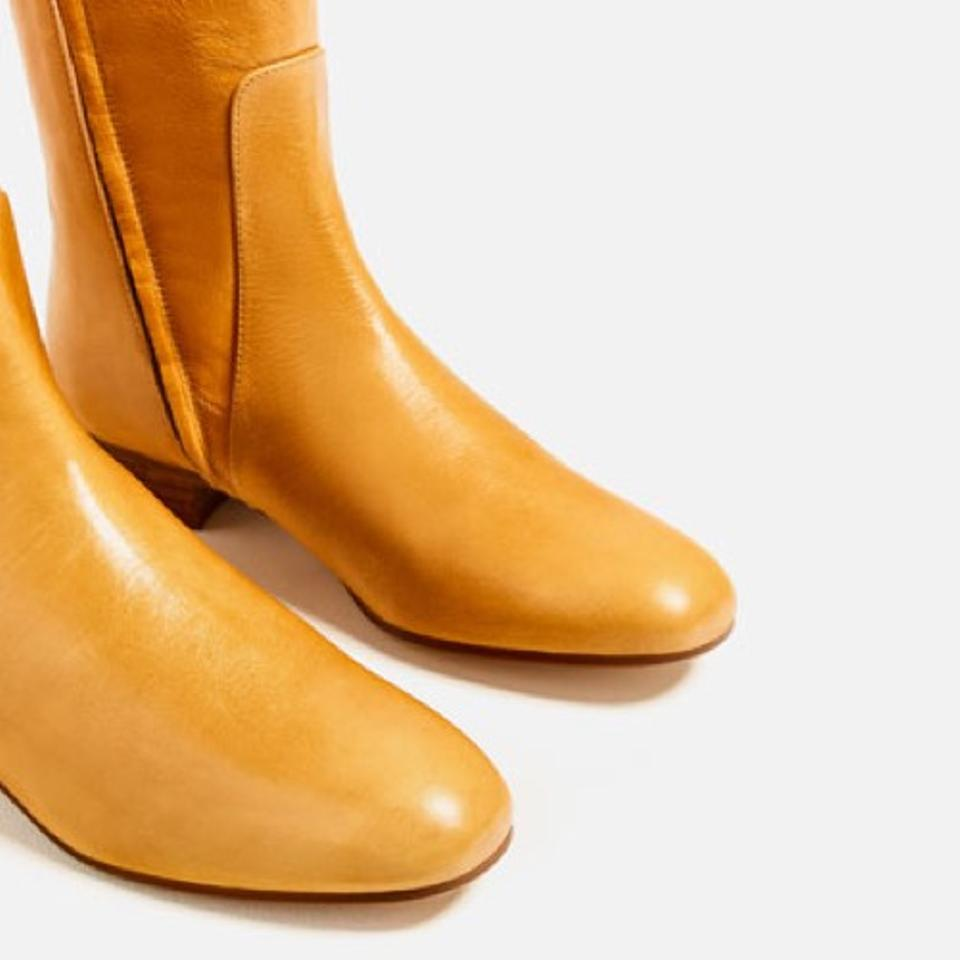 89e00faf141 Zara Yellow Over The Knee Mustard Flat Leather Boots/Booties Size US 5  Regular (M, B)