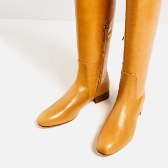 Zara Knee High Gold Round Toe Flat Ankle Yellow Boots Image 4