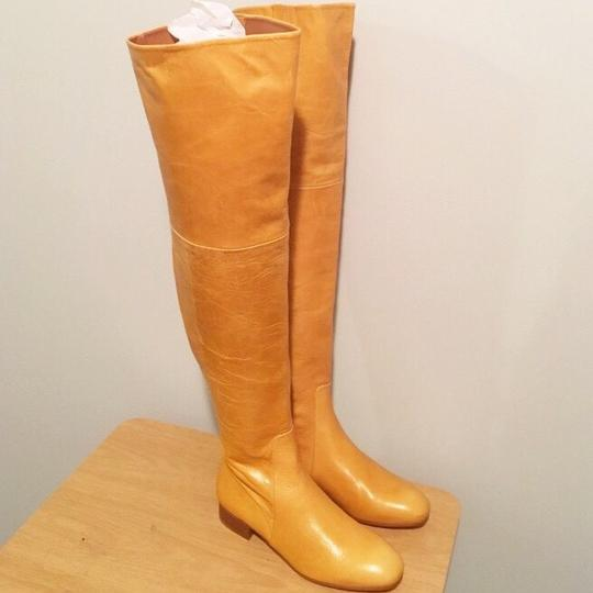 Zara Knee High Gold Round Toe Flat Ankle Yellow Boots Image 5