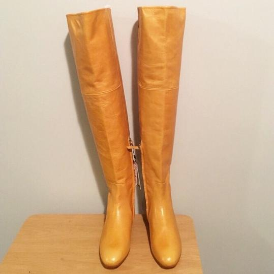 Zara Knee High Gold Round Toe Flat Ankle Yellow Boots Image 6