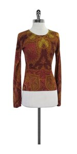Etro Color Print Paisley Silk Cashmere Sweater