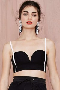 Nasty Gal Top black with white piping