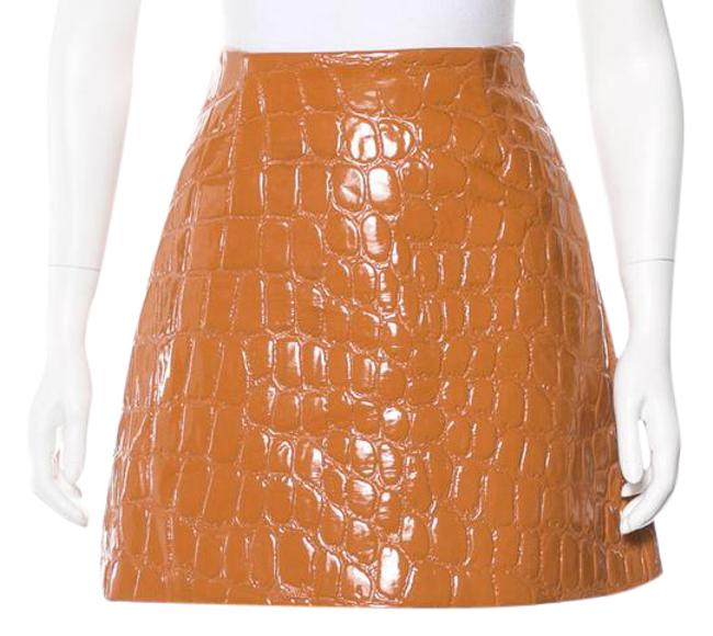 Item - Camel 2015 Fall Runway Embossed Crocodile Faux Patent Leather Skirt Size 0 (XS, 25)