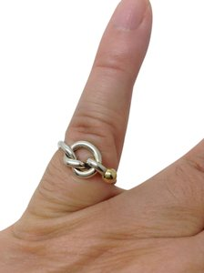 Tiffany & Co. size 6.75, sterling silver, 18k gold, Love Knot, fashion ring