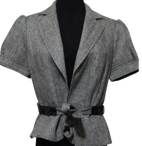 Ann Taylor LOFT & Fitted Cap Sleeves Work Attire Dressy Casual black & white Blazer