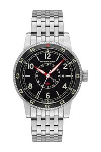 Burberry New Men's Utilitarian Silvertone Bracelet Watch GMT Swiss Made BU7866