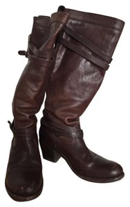 Frye Leather Biker Moto Motorcycle Riding Brown Boots