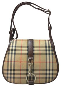 Burberry Flap Nova Check Satchel Leather Shoulder Bag