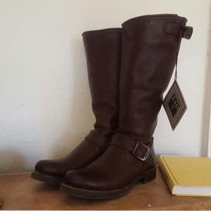 Frye Leather Buckles Buckled Moto Dark Brown Boots