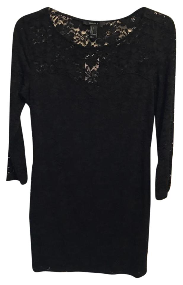 Forever 21 Black Lace Short Night Out Dress Size 12 L Tradesy