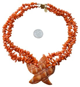 Les Bernard RARE Vintage LES BERNARD Sterling Genuine Branch Coral Bead Starfish Necklace