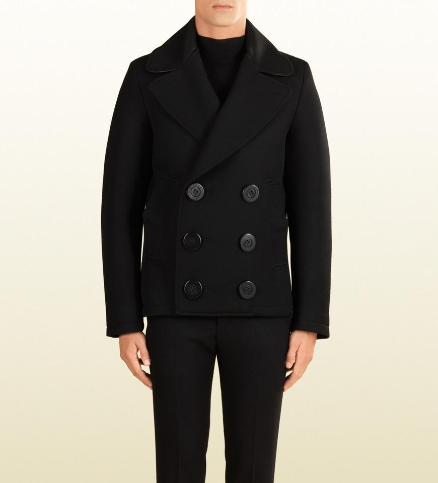elegant appearance modern techniques authentic Gucci Black W Wool Tailored Peacoat W/Leather Trim It 54/ Us 44 353164  Groomsman Gift 69% off retail
