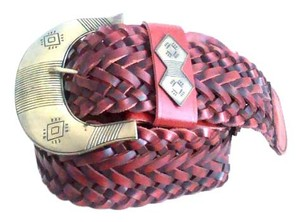 CAbi Southwestern CALi Wide Leather Braid Belt Size L