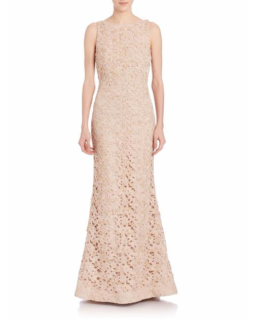 Item - Nude Alice+olivia Kacie Embroidered Open Back Gown Long Formal Dress Size 4 (S)