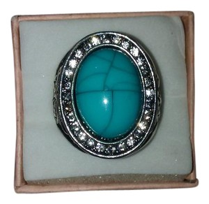 Other Size 9 Stainless Steel Ring With Turquoise and CZ Stones