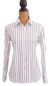 J.Crew Slim Fit Dress Shirt Striped Fitted Button Down Shirt White, navy
