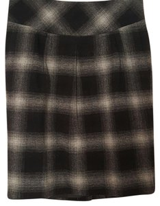 Ann Taylor LOFT Skirt Plaid black and gray