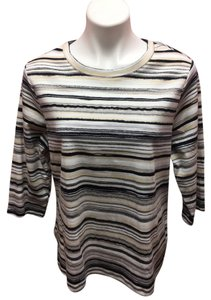 Studio Works Casual Striped 3/4 Sleeve Top Multi-Color