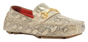 Cole Haan Driver Loafer Leather Gold Cream snake skin Flats