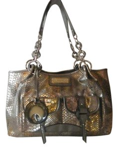 Sharif Snake Skin Embossed Leather Pendant Metallic Satchel in Silver/Gold Snake