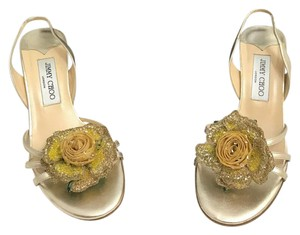 Jimmy Choo Gold Flower Antique Gold Sandals