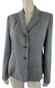 Le Suit Fitted Pleated Lined Gray Heather Blazer