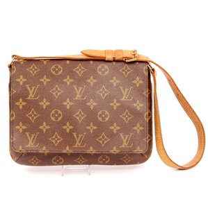 Louis Vuitton Front Flap Monogram Canvas Musette Tango Tote in Brown