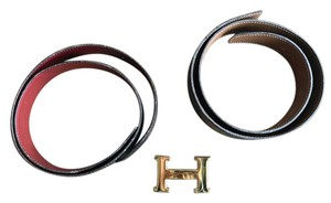 Hermès 3-Piece Reversible Hermes Paris Leather Belts with Gold Accent