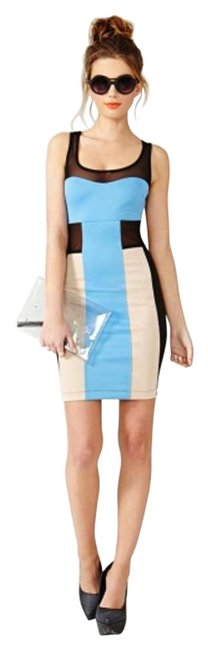 Item - Blue/Black/Nude Colorblock Mesh Mini Night Out Dress Size 8 (M)