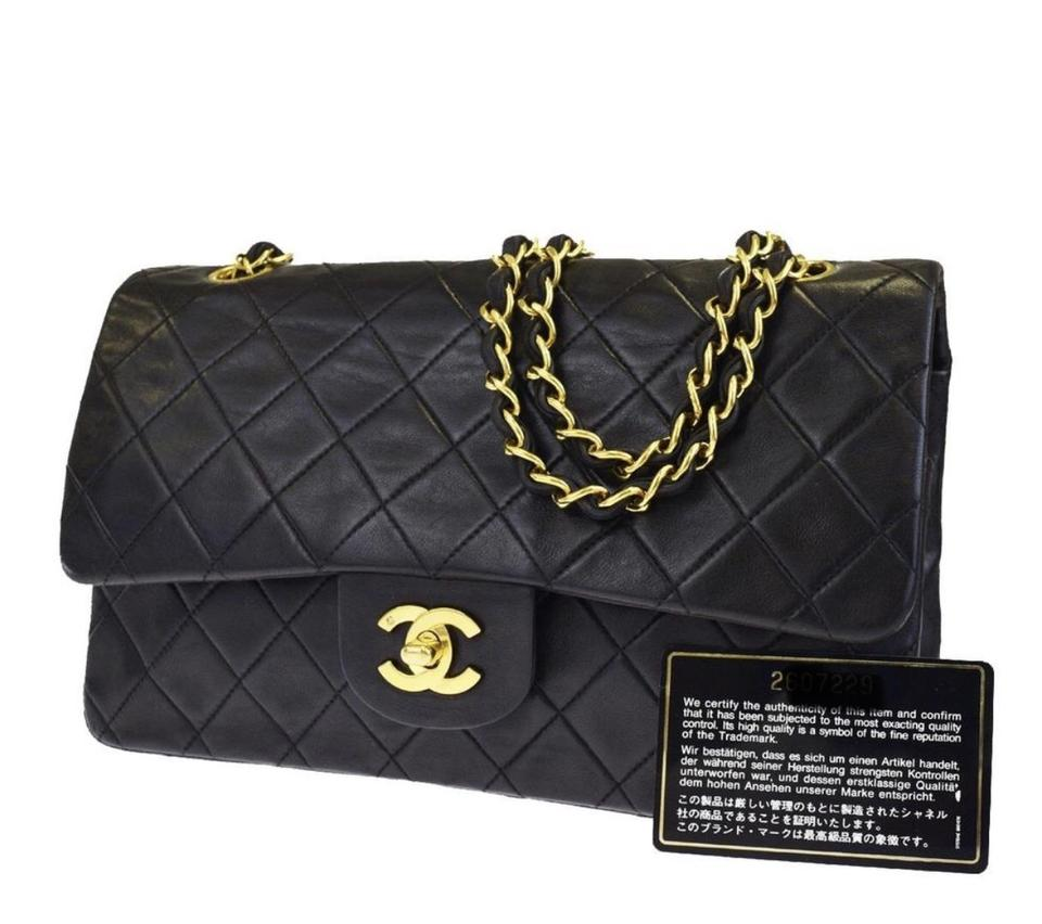 5d23637a03af Chanel Classic Flap Quilted Double Gold Chain Black Lambskin Shoulder Bag