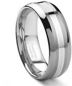 Men's Tungsten 14k White Gold Inlay Wedding Band Size 13