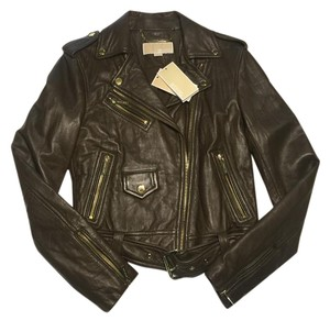 Michael Kors Bomber Motorcycle Leather Duffle (Military Green) Jacket