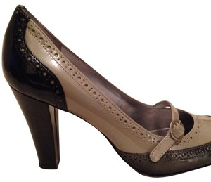 Anne Klein Pewter Gray Patent Black, Grey Pumps
