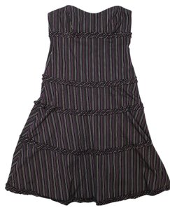 Nicole Miller Strapless Pinstripe Tiered Sweetheart Dress