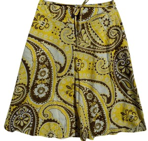 Talbots Paisley Circle Classic Flowy Skirt Yellow