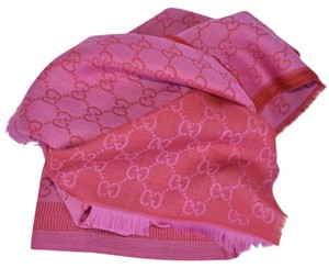 Gucci Gucci 282390 Large Pink Red Wool Silk GG Guccissima Logo Scarf Shawl