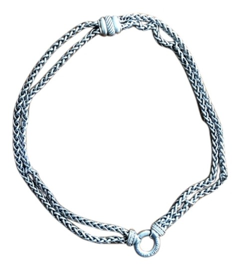 Preload https://item2.tradesy.com/images/david-yurman-silver-thick-double-strand-with-diamond-necklace-2067041-0-0.jpg?width=440&height=440