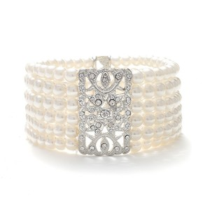 Mariell Ivory Pearl Vintage Stretch Bracelet