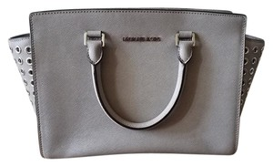 Michael Kors Leather Studded Satchel in Grey