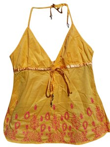 Guess Cotton Embroidered Embellished Bright Bold Top Yellow
