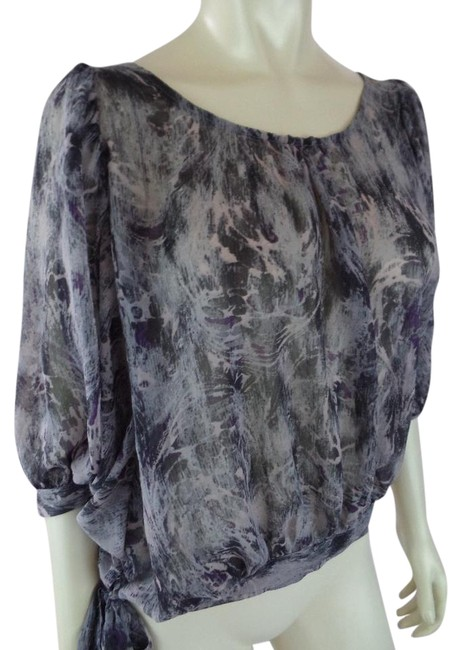 Item - Gray Lavender Purple Sheer Abstract Short Dolman Sleeve Peasant Blouse Size 6 (S)
